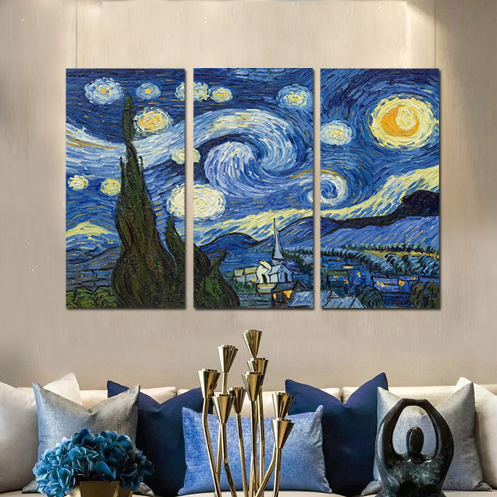 Unframed Canvas Art Paintings Van Gogh Starry Night Giclee Wall Decor Prints Wall Pictures For Living Room Wall Art Decoration