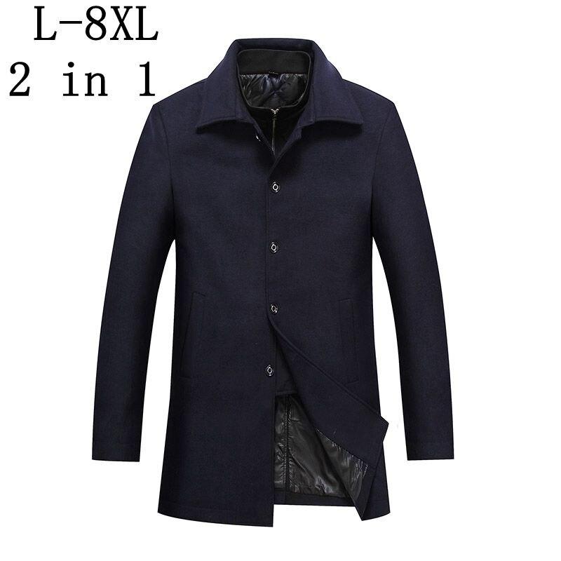 2 In 1 Winter Lange Wolle Mantel Männer 2018 Neue Mens Verdicken Jacke Business Casaco Masculino Casual Graben Mantel Größe 6xl 7xl 8xl