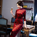 New Fashion Red Female Silk Velvet Evening Dress Chinese Traditional Cheongsam Top Noble Elegant Qipao Size M-XXXL