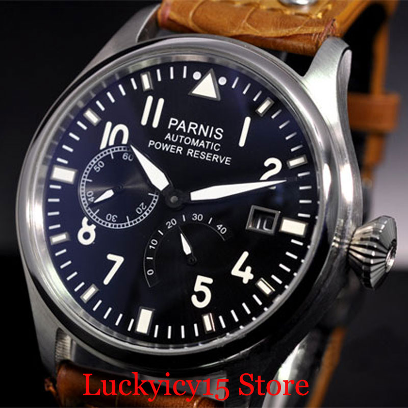 47mm Mechanical Men's Watch With Power Reserve Auto Date Function Classic Strap Big Crown