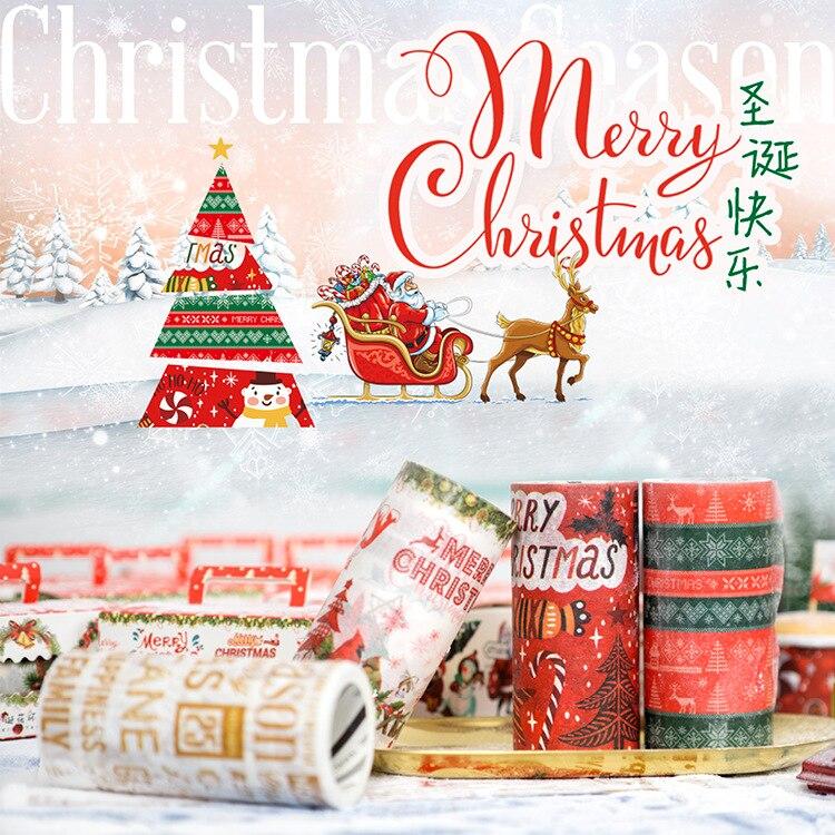 6 Designs NEW!! Christmas tree/Santa Claus/Festival Gift Japanese Washi Decorative Adhesive DIY Masking Paper Tape Sticker Label santa claus christmas gift printed decorative pillow case