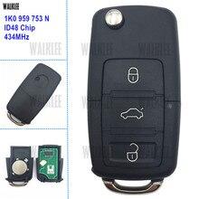 WALKLEE 1K0959753N 1K0 959 753 N Remote Key suit for VW/VOLKSWAGEN EOS/GOLF/JETTA/POLO/SIROCCO/TIGUAN/TOURAN 434MHz Auto