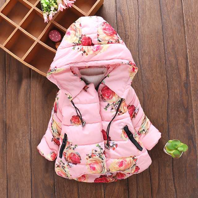 Meninas casaco de inverno crianças jaqueta casaco 2016 nova moda flores roupas meninas casaco com capuz para baixo outerwear algodão