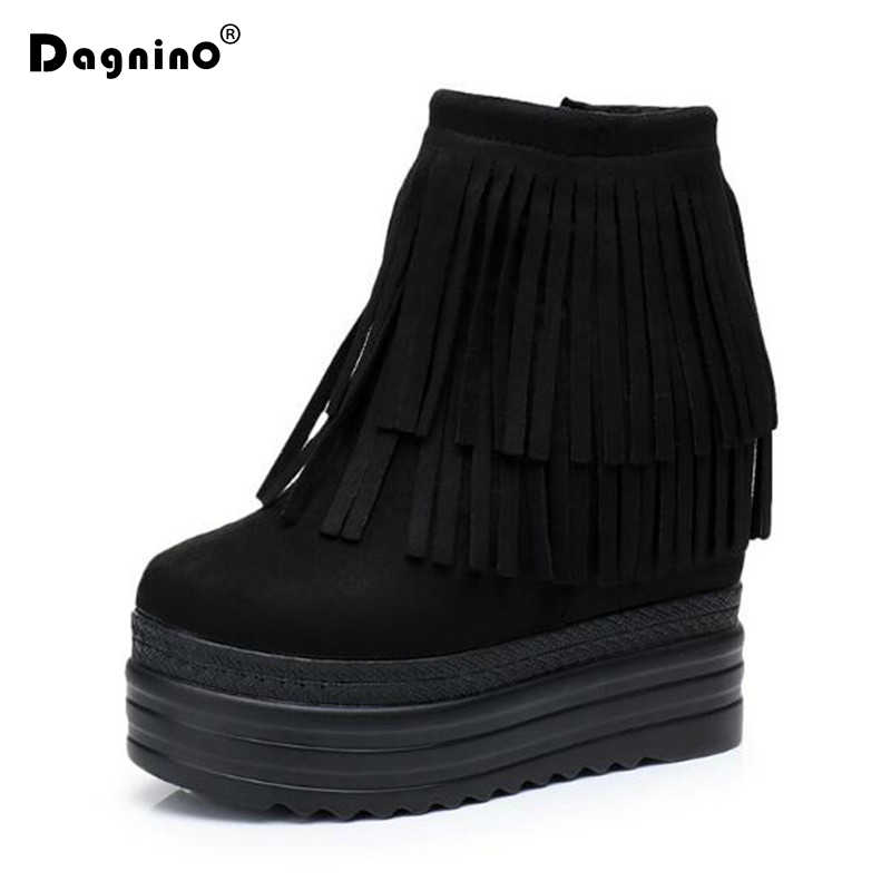 459c54c26061 Fashion Autumn Women Tassel Ankle Boots Ladies Height Increased 8 CM Zip  Winter Boots Black Wedges