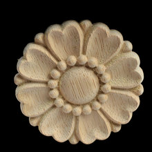 8/10CM Round Wood Carving Applique Oak Wood Furniture Decorative Mouldings Decal Cabinet Door Wood Figurine Craft Flower Board стоимость