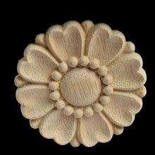 8/10CM Round Wood Carving Applique Oak Furniture Decorative Mouldings Decal Cabinet Door Figurine Craft Flower Board