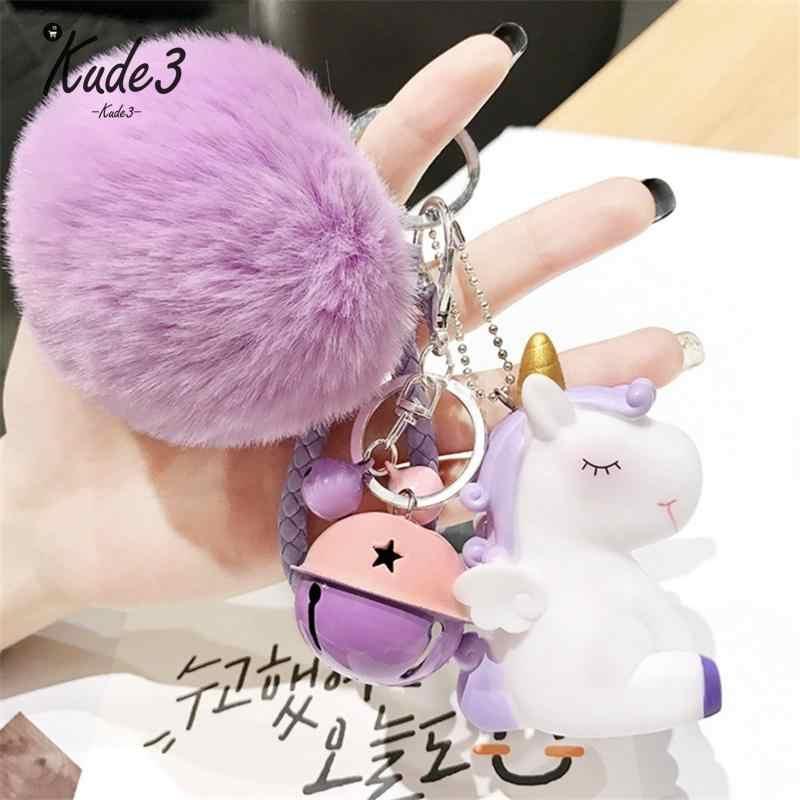 น่ารักยูนิคอร์นเลื่อม Pom Pom Key จี้ที่มีสีสันตุ๊กตา Unicorn ตุ๊กตาเด็กของเล่นเด็กหญิงกระเป๋า Hang จี้ Key Chain Speelgoed ของขวัญ