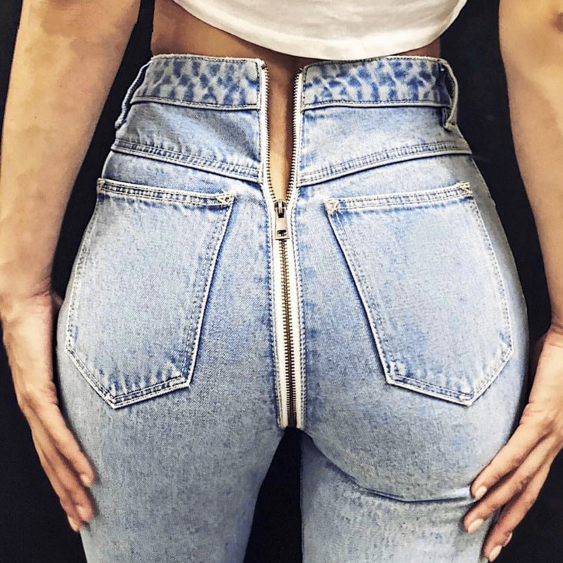 Sexy Back Zipper Light Blue Denim Jeans 2020 Autumn Winter Women High Waist Skinny Pencil Pant Female Streetwear Trousers