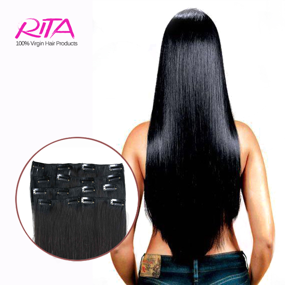 Cooperative Full Shine Virgin Clip In Hair Extensions Pure Color Straight Hair 8 Pcs Human Real Hair Clip In Extension 100g Double Weft Hair Hair Extensions & Wigs Clip-in Full Head