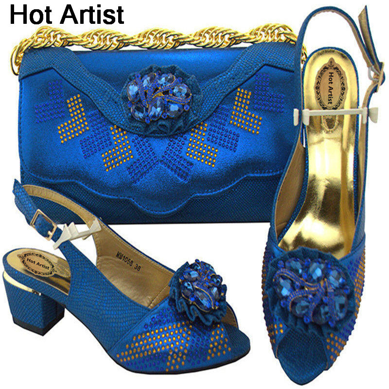 Hot Artist New Arrival Italian Woman Shoes And Bag Set African Style High Heels Shoes And Bag Set For Party Size 38-43 MM1058 hot artist new arrival italian style rhinestone woman shoes and bag set african high heels shoes and bag purse for party dress