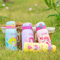 High quality Children thermos stainless steel bottle with straws Kindergarten kids fall resistant primary school thermos kettle