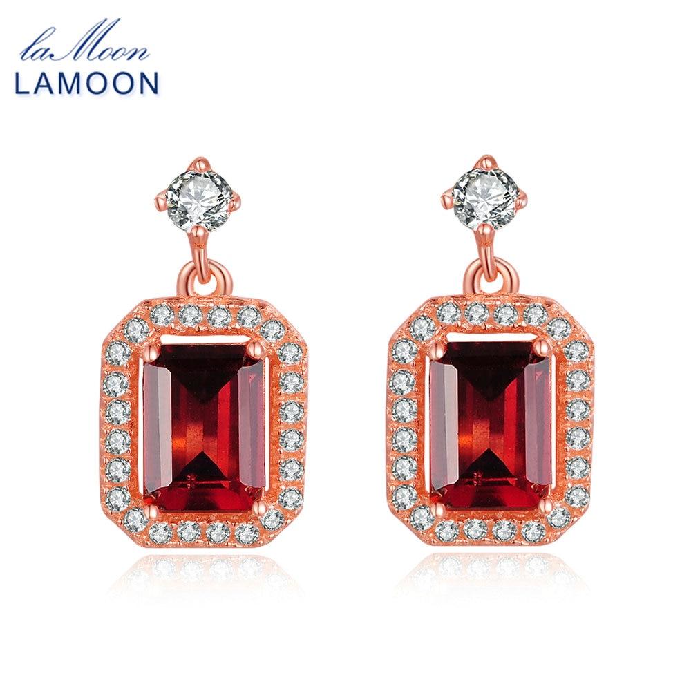 Lamoon Dangle Earring 1.1ct 100% Natural Red Garnet Square Gemstone - Fine Jewelry - Photo 1