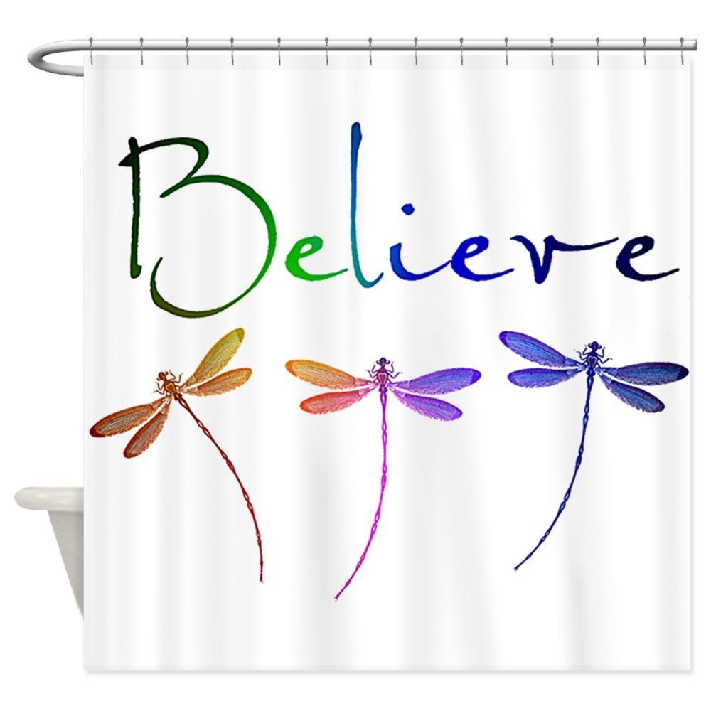 Believe...Dragonflies Decorative Fabric Shower Curtain