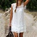 Свободного покроя платье мини рукавов чешский белый кружевном платье Boho одежда широкий лоскутная платье Большой размер женщин Vestidos курто