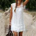 Casual Dress Mini Sleeveless Bohemian White Lace Dress Boho Clothing Loose Patchwork Dress Plus Size Women Vestidos Curto