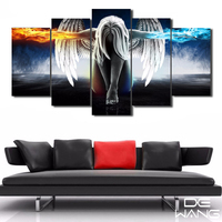 HD Printed Angeles Girls Anime Demons Painting Canvas Print Room Decor Print Poster Picture Canvas For