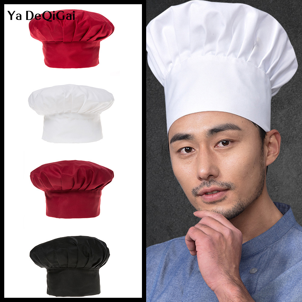 black Chef Hat Unisex Adult Mushroon Design Adjustable Kitchen Uniform Cap for Baking Party Cooking Restaurant