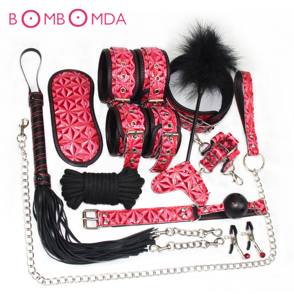 10PCS Set BDSM Bondage Sex Products for Adults Couple Men Women Slave Game Whip Handcuffs Nipple Clamps Gag Rope Collar Tickler
