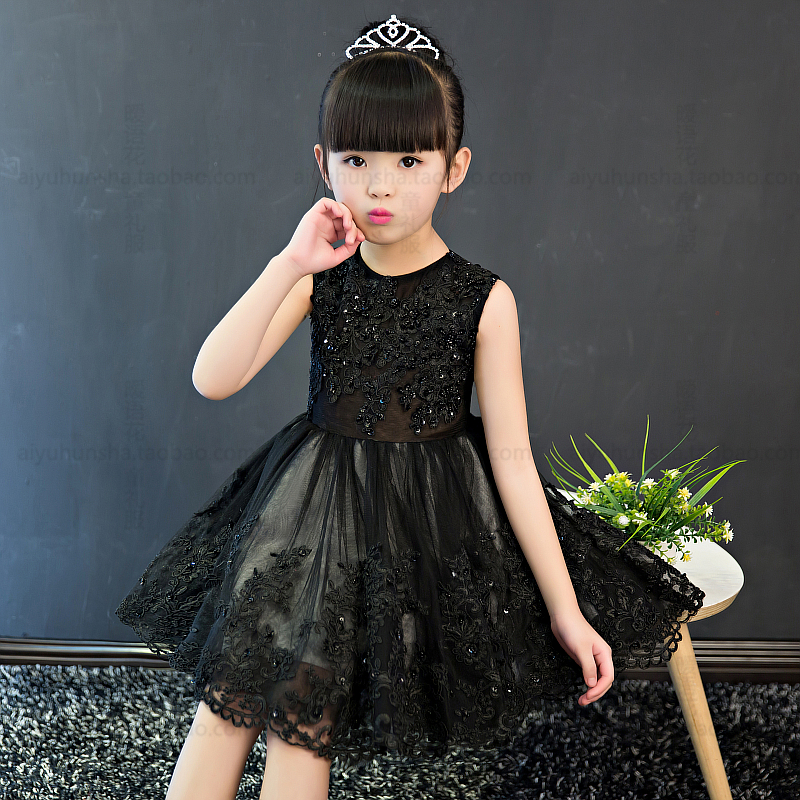 Beading Flower Girls Dress 2018 Summer Children Dress Sleeveless Ball Gown For Wedding Kids Pageant Dress Black Dresses A70 summer spring woman dress black white dog face pattern sequined beading chest black deep pink dress over knee cute cotton dress