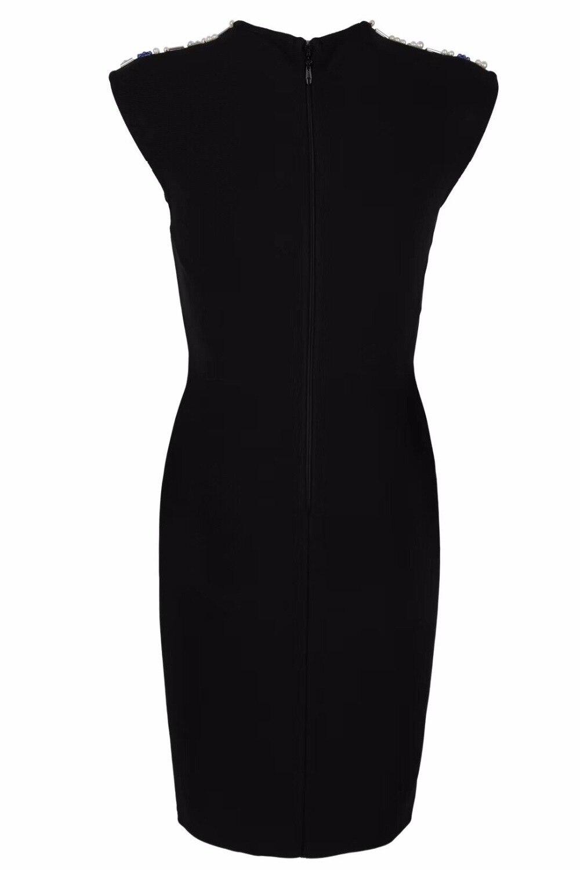 Perles Cou Élégant Sans Celebrity Date Femmes Des Party Manches Robe Moulante De 2018 Noir Bandage O D'été Mode Sexy qz0xv
