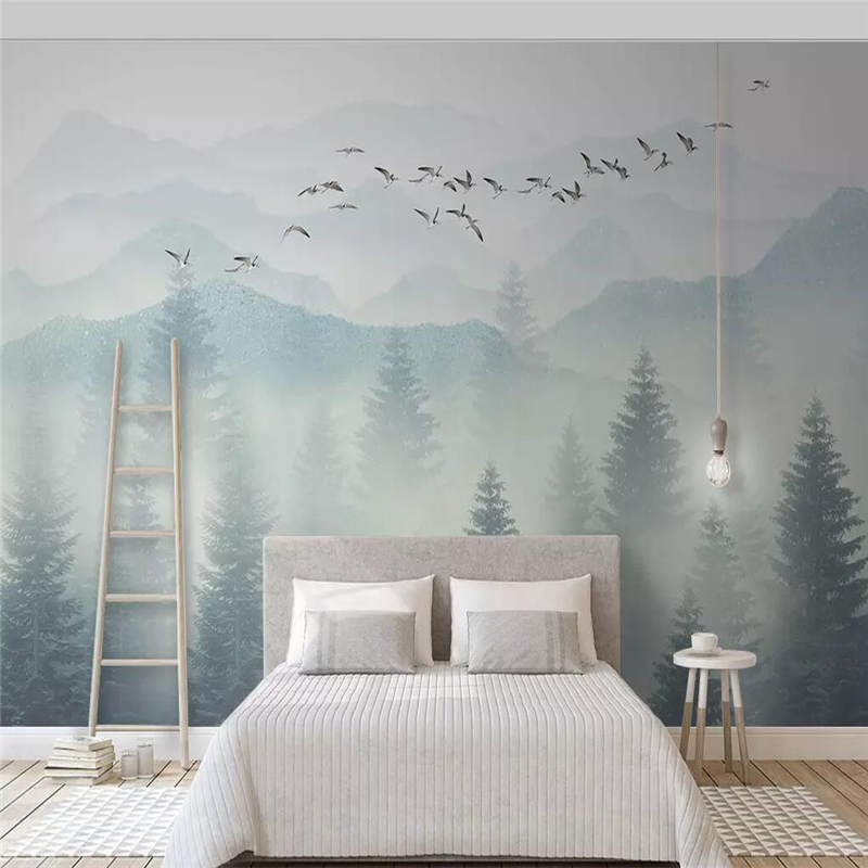 Seamless Wallpaper Small Fresh And Simple Elegant Style Fog Forest Background Wall Large Murals
