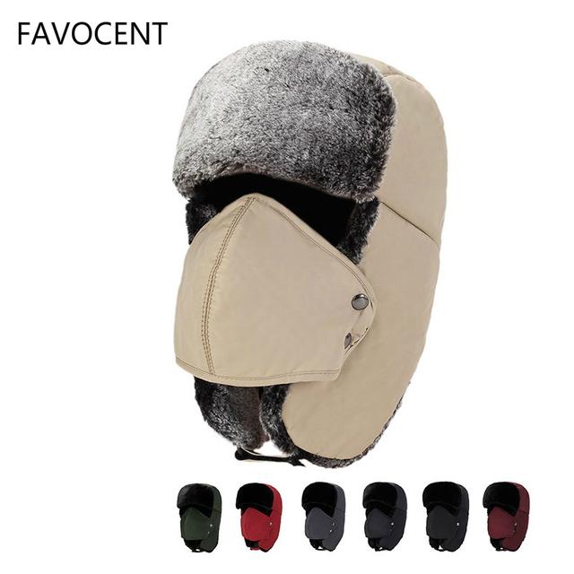 Czapki zimowe Bomber czapka Pilot futro nauszniki czapki zimowe ciepła czapka sportowa maska dla mężczyzn i kobiet kask rowerowy czapki zamaskowana czapka tanie i dobre opinie Kapelusze bomber Hats11241XQ FAVOCENT Poliester COTTON Unisex Stałe Chiny (kontynentalne) Dla dorosłych