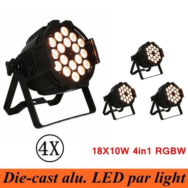 New Professional LED Stage Lights 18X10W 4IN1 LED DMX Stage Lighting Effect DMX512 Master-Slave Led Flat for DJ Disco Party KTV