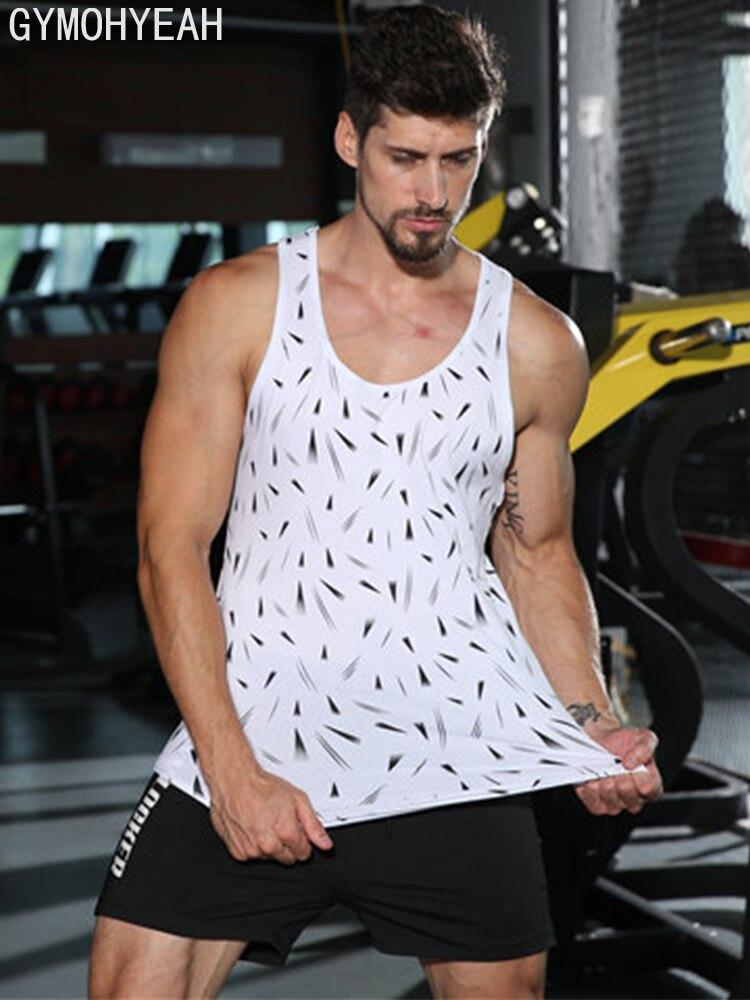 GYMOHYEAH Newest Tank Top Men Gyms Clothing Bodybuilding Fitness Workout Muscle Men Vest Sportswear Undershirt Sleeveless Shirt