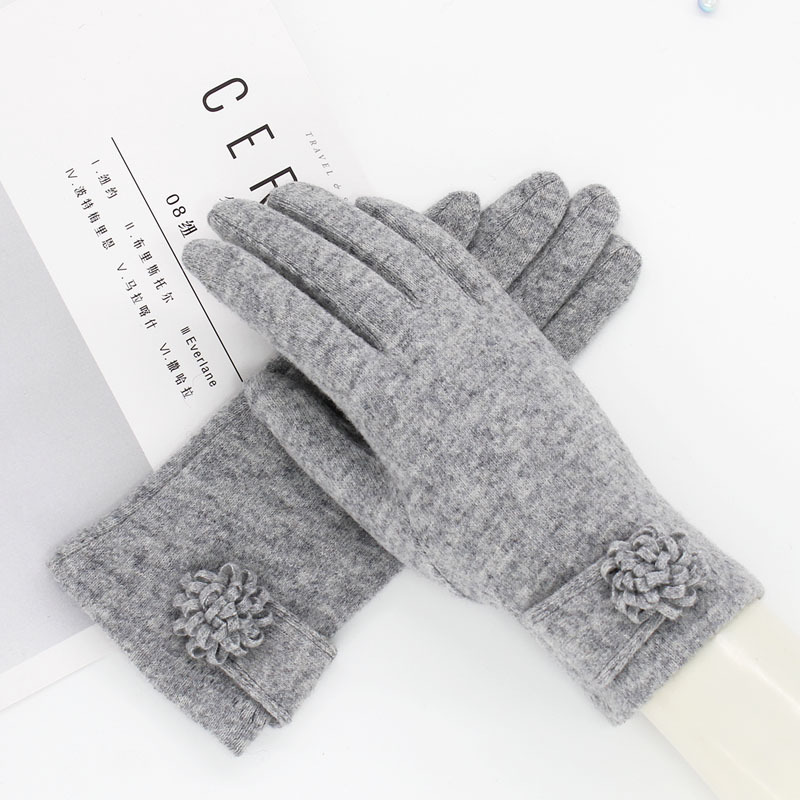 Fashion Elegant Female Wool Knit Touch Screen Gloves Winter Women Keep Warm Cashmere Full Finger Leather Bow Dotted Gloves S62