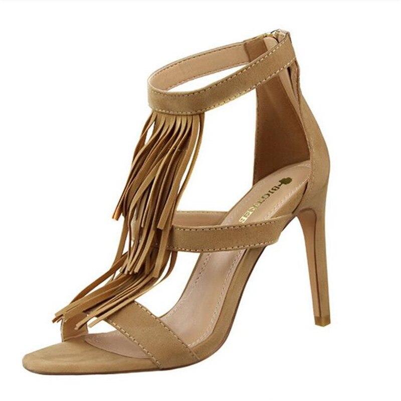 2017 New Summer Fringe Sandals European Fashion Tassel High Heels Shoes High heeled Suede Heeled Pumps Sexy Sandal 7026 1