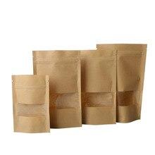 High Quality 10Pcs/lot Kraft Paper Bag Window Zip lock Empty Dried Food Fruit Tea Gift package Self Sealing Zipper Stand up Bags