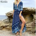ZANZEA Brand 2017 Autumn Women Dress Retro Vintage Printed Dresses Beach Maxi Long Dress Sexy V Neck Casual High Split Vestidos