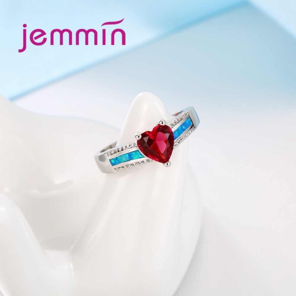 สามเหลี่ยมสีแดงคริสตัล Blue Fire OPAL แหวน Cubic Zirconia 925 เงินสเตอร์ลิงงานแต่งงานแหวนเครื่องประดับ