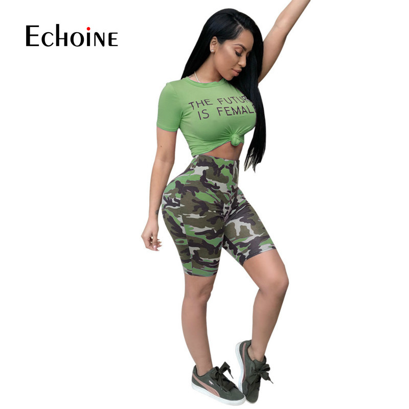2019 Women's Active Sexy Set Crop O-Neck 2 Piece Set Letter Print Short Sleeve Top And Camouflage Pants Sexy Tracksuit Sweatsuit
