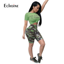 2019 Womens Active Sexy Set Crop O-Neck 2 Piece Letter Print Short Sleeve Top and Camouflage Pants Tracksuit sweatsuit