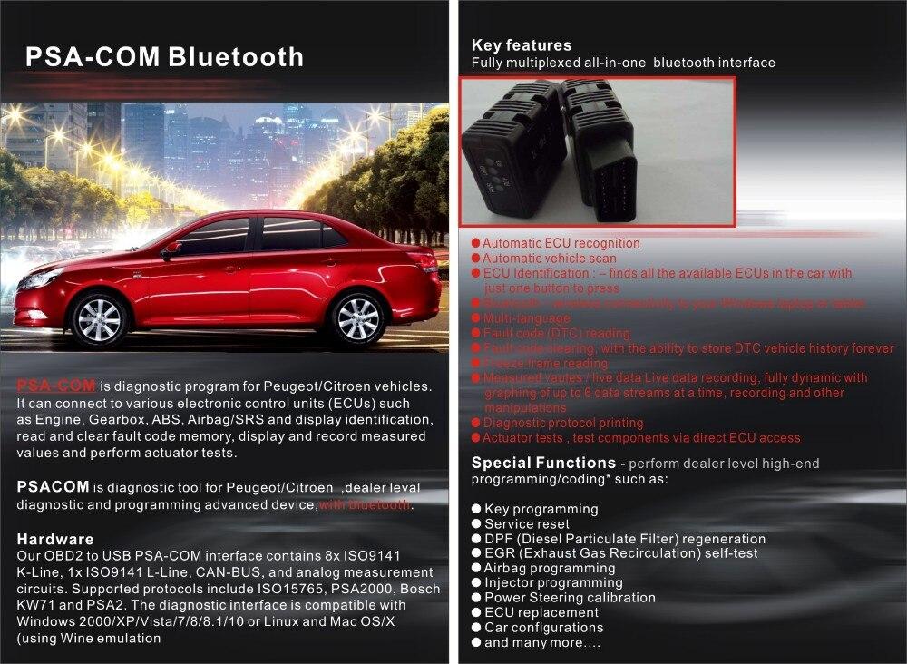 US $33 75 10% OFF PSACOM PSA COM Bluetooth Diagnostic Tool PSA COM  Bluetooth OBD OBD2 For ECU/Key programming/DTC For Citroen for Peugeot -in  Car