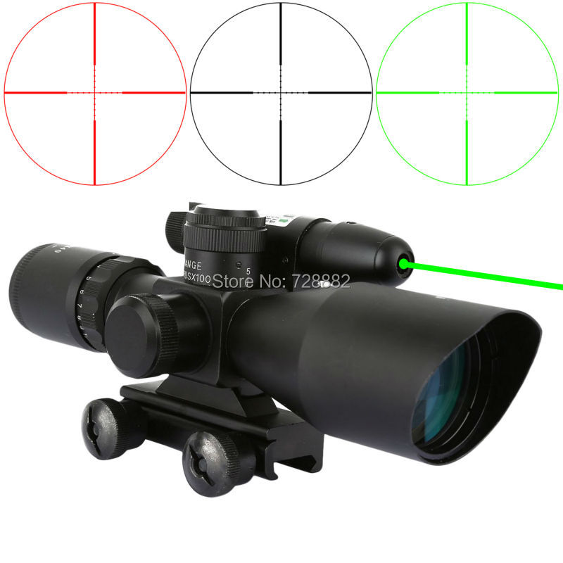 2.5-10x40 Riflescopes Red Green Mil Dot Reticle Dual illuminated Sight Scope With Green Dot Laser Sight 20mm Rail Mount Combo green red dot 3 10x42 illuminate mil dot reticle sight rifle scope with red laser for airsoft hunting caza 20mm 11mm mount rail