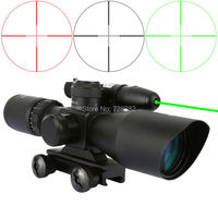 2.5-10x40 Riflescopes Red Green Mil Dot Reticle Dual illuminated Sight Scope With Green Dot Laser Sight 20mm Rail Mount Combo