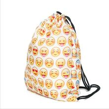 Fashion Emoji Flodable Shopping Bag Backpack Sports Bag for Storaging Clothes Shoes Bag Cosmetics Home Hanging Handbag Organizer