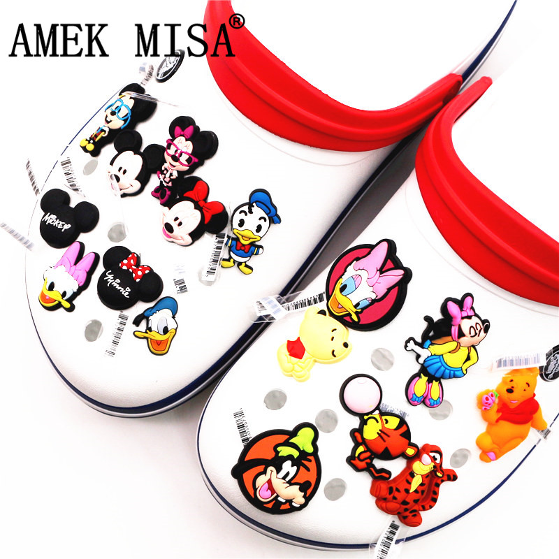 1psc High Imitation Shoe Decorations Cartoon Mickey And Minnie Shoe Buckles Charm Cute Shoe Accessories Fit Croc JIBZ Kids Gifts