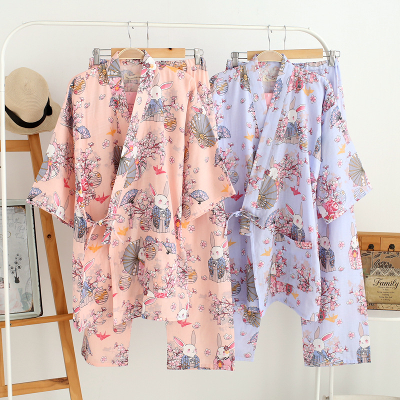 Female Kimono   Pajama     Sets   Spring Autumn Cotton Bathrobe Gauze   Pajamas   Bathrobe Department with Breathable Home Clothing Nightly