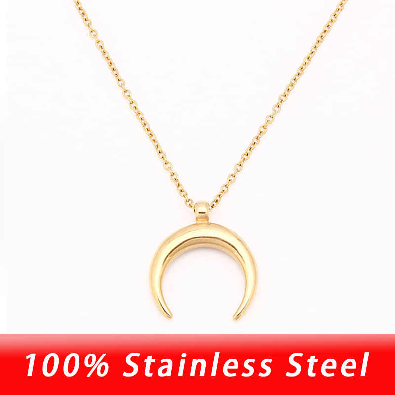 100% Stainless Steel Half Moon Necklace Silver/Gold Crescent Choker Steel OX Horn Pendant Necklace Collier Lune