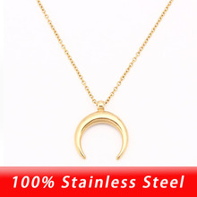 100% Stainless Steel Half Moon Necklace Silver Color/Gold Co
