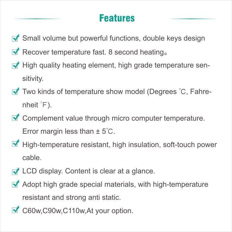 Electric Soldering iron 60W CXG LCD Adjustable Temperature EU plug Welding Solder Station Heat Pencil 2pcs Tips  (17)