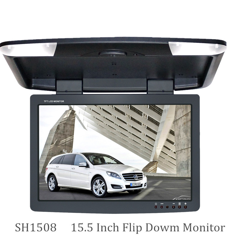 15.5 inch car monitor DC 12V 2-way video inputs flip down monitor TFT LCD digital screen Black color SH1508