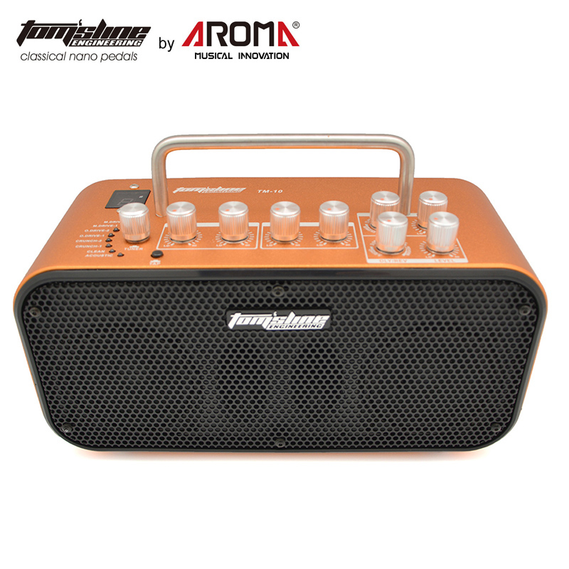 Aroma TM 10 Mini 10W Double Speakers High Quality Amp for Electric Guitars Built in 8 Preset Sound and 4 Effect Chorus