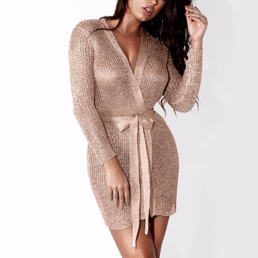 Women <font><b>Sexy</b></font> Dress Knitted Sweater Dress Silver Gold <font><b>Club</b></font> <font><b>Party</b></font> Bodycon Dress Deep V-neck Long Sleeve Cardigan Robe with Belt <font><b>2018</b></font> image