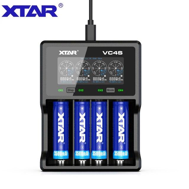XTAR VC4 S VC4S QC3.0 الشحن السريع ، Max3A لفتحة واحدة تنطبق على 3.6/3.7 فولت ليثيوم أيون IMR/INR/ICR/بطارية 18650 14500 20700 21700