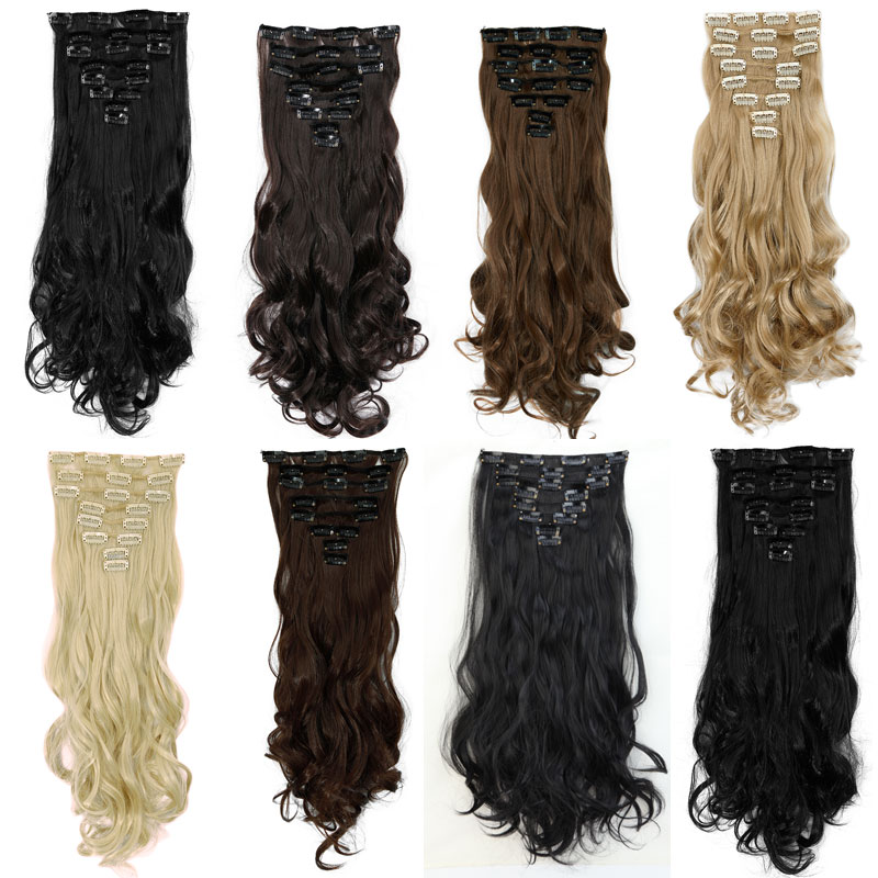 Aliexpress buy 20 inches 7 pieceset full head clip in thick aliexpress buy 20 inches 7 pieceset full head clip in thick hair extensions 18 clips ins dark black synthetic hair extension curly hairpieces from pmusecretfo Images