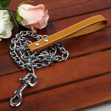 Metal stainless steel medium big dog chain Leashes(no collar)dog puppy pitbull golden retriever Pu leather handle Leash collar